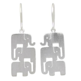 Elephant Stack Handcrafted Brushed 925 Sterling Silver Animal Theme Contemporary Womens Dangle Earrings (Thailand)