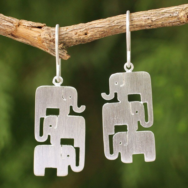 Elephant Stack Handmade Brushed 925 Sterling Silver Animal Theme Contemporary Womens Dangle Earrings (Thailand)