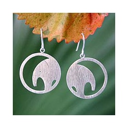 Sterling Silver 'Modern Elephant' Dangle Earrings (Thailand)