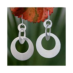 Sterling Silver 'In Circles' Dangle Earrings (Thailand)