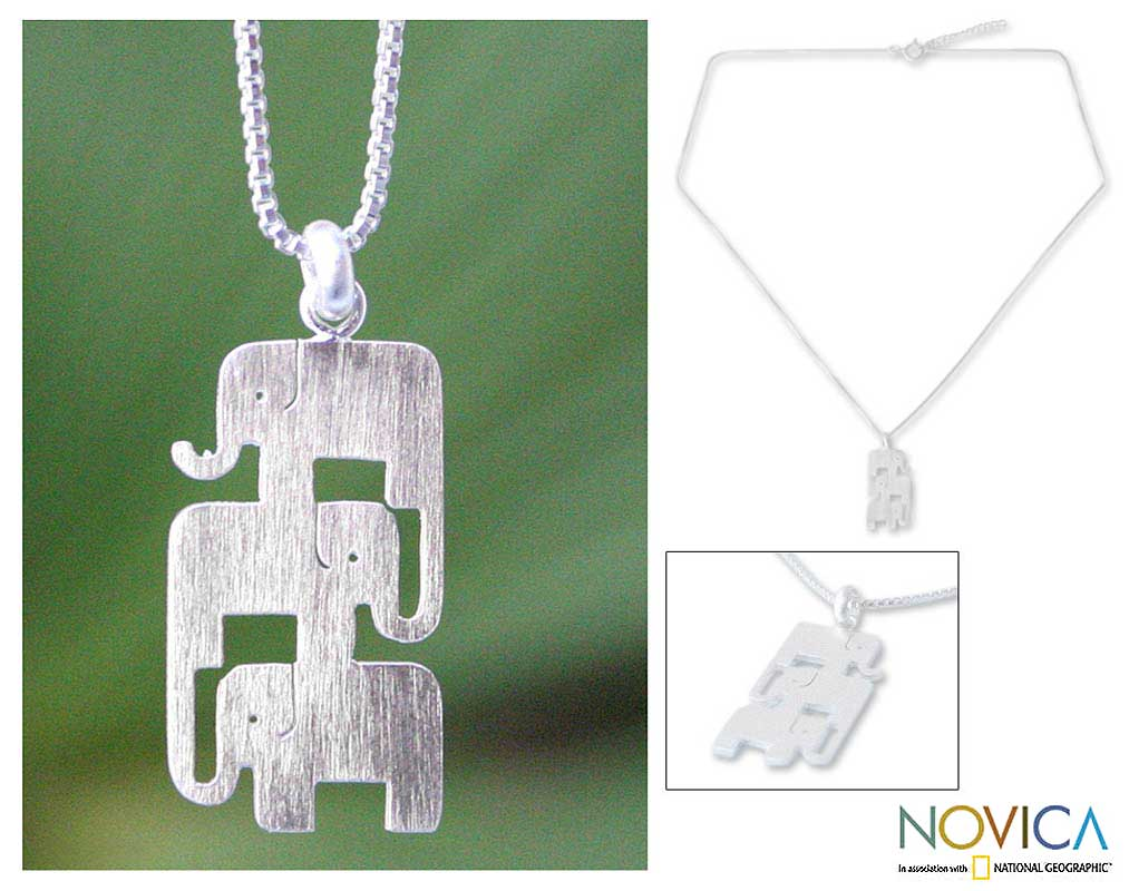Elephant Stack Brushed 925 Sterling Silver Animal Theme Adjustable Box Chain Contemporary Womens Pendant Necklace (Thailand)