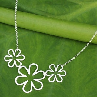 Flower Power Cutout Silhouettes in Brushed 925 Sterling Silver on Adjustable Chain Modern Womens Pendant Necklace (Thailand)