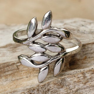 Olive Branch Peace Symbol Entwines the Hand Gracefully in Highly Polished 925 Sterling Silver Womens Modern Wrap Ring (Thailand)