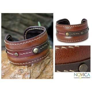 Handmade Leather 'Going Solo' Cuff Bracelet (Thailand)