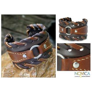Handmade Leather 'Western' Cuff Bracelet (Thailand)