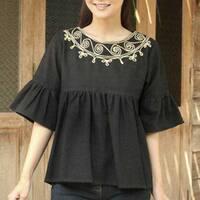 Handmade Women's Cotton 'Licorice Chic' Blouse (Thailand)