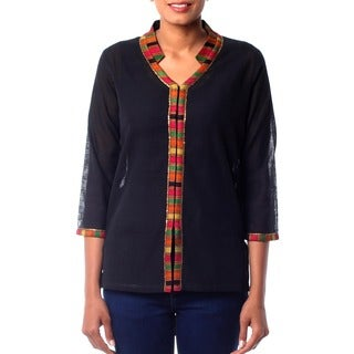Handmade Women's Cotton 'Midnight Jewel' Blouse (India)