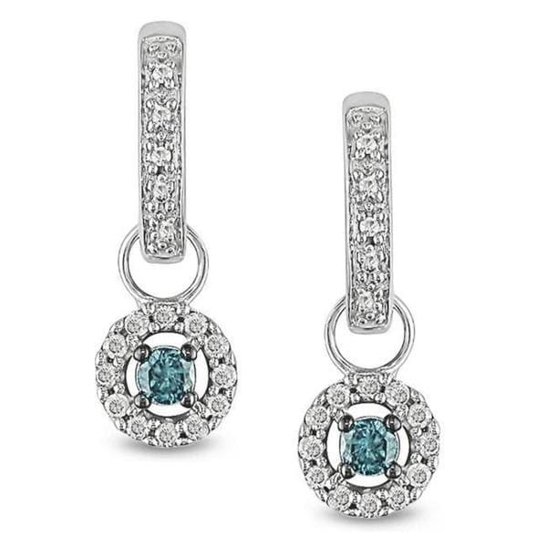 Miadora 10k Gold 1/3ct TDW Blue and White Diamond Hoop Earrings