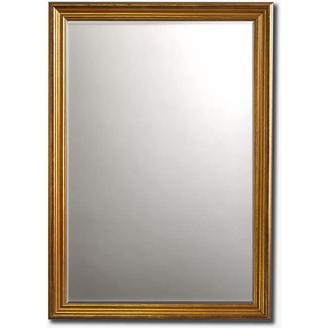 "Classic Gold-Framed Beveled Wall Mirror (36"" x 30"")"