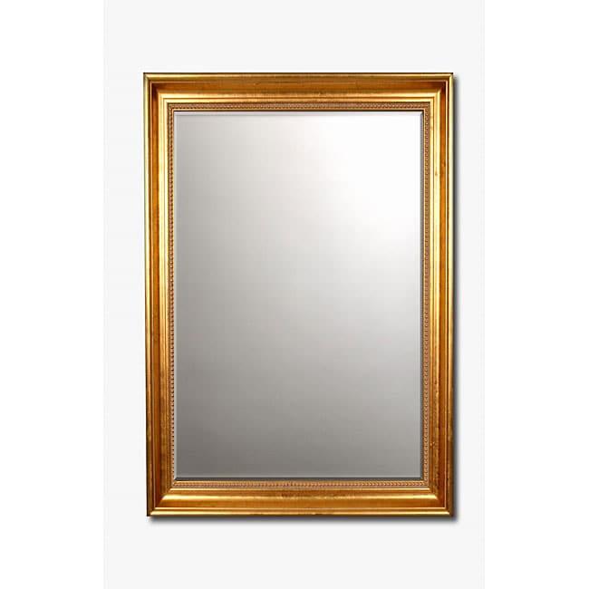 Beaded Gold-Framed Beveled Rectangular Wall Mirror
