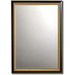 """Gilded Ebony-Framed Beveled Wall Mirror (42"""" x 30"""")"""