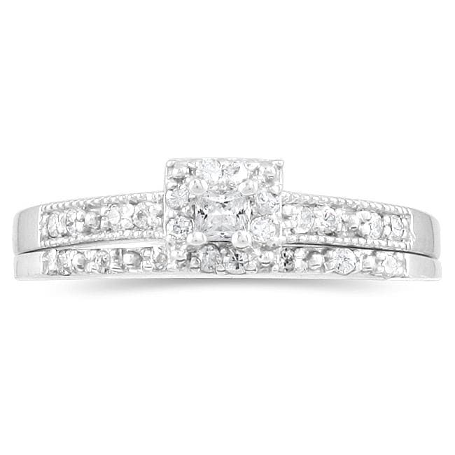 Marquee Jewels 10k White Gold 1/3ct TDW Princess Diamond Bridal Ring Set - Thumbnail 0