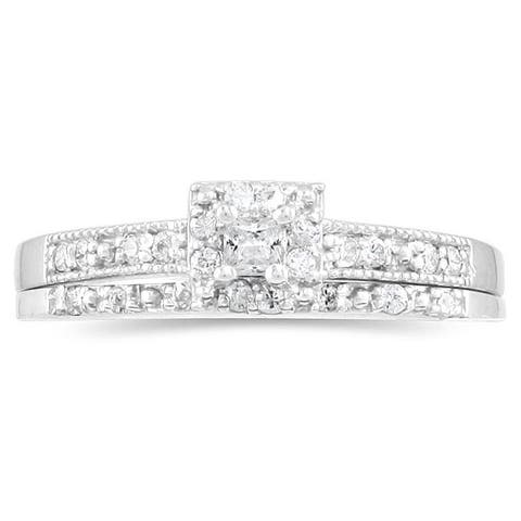Marquee Jewels 10k White Gold 1/3ct TDW Princess Diamond Bridal Ring Set