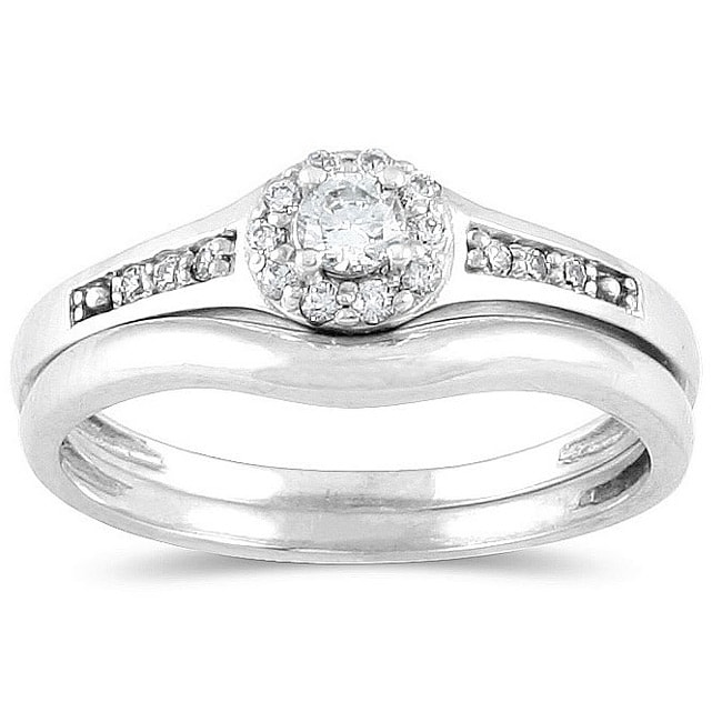 Marquee Jewels 10k White Gold 1/4ct TDW Diamond Bridal Ring Set (I-J, I1-I2)