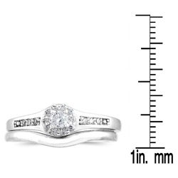 Marquee Jewels 10k White Gold 1/4ct TDW Diamond Bridal Ring Set (I-J, I1-I2) - Thumbnail 2