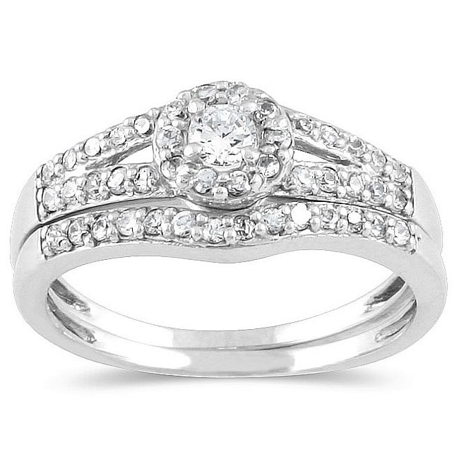Marquee Jewels 10k White Gold 3/8ct TDW Diamond Halo Bridal Ring Set