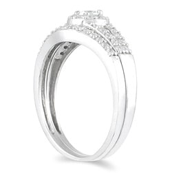 Marquee Jewels 10k White Gold 3/8ct TDW Diamond Halo Bridal Ring Set - Thumbnail 1