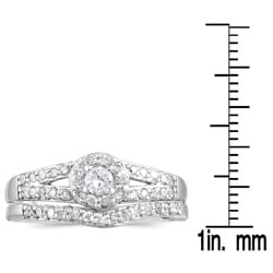 Marquee Jewels 10k White Gold 3/8ct TDW Diamond Halo Bridal Ring Set - Thumbnail 2
