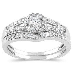 Marquee Jewels 10k White Gold 3/8ct TDW Diamond Halo Bridal Ring Set