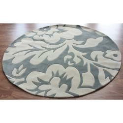 nuLOOM Handmade Pino Floral Slate Round Rug (6' Round)