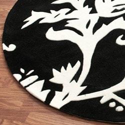 nuLOOM Handmade Pino Peonies Black Round Rug (6' Round)