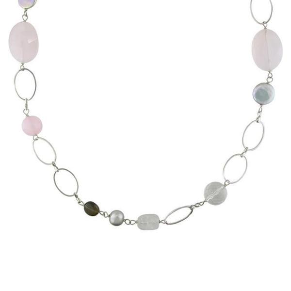 Miadora Silvertone Brass Multi-gemstone Bead and Grey Pearl Necklace (9-13 mm)