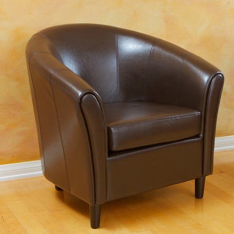 Napoli Brown Bonded Leather Club Chair by Christopher Knight Home