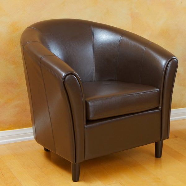 Ordinaire Napoli Brown Bonded Leather Club Chair By Christopher Knight Home