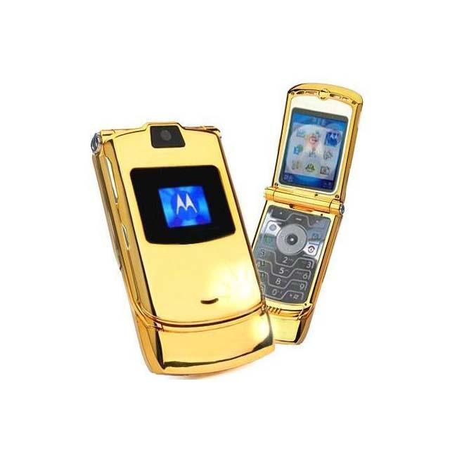 Motorola Razr V3 Gold Unlocked Gsm Cell Phone Refurbished
