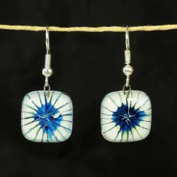 Blue/ White Starburst Square Glass Earrings (Chile)