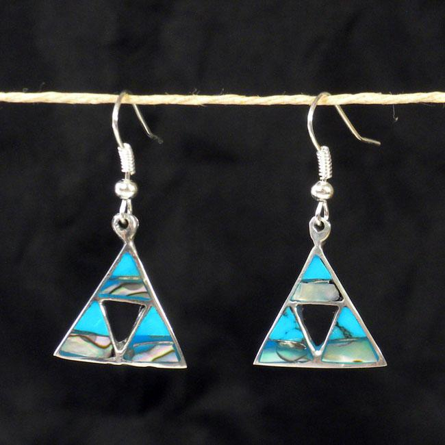Silver Turquoise and Abalone Triangle Cutout Earrings (Mexico)