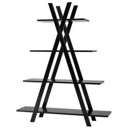 4-tier Black X-shape Bookcase