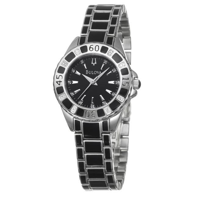 Bulova Women's 'Diamonds' Stainless Steel with Enamel Quartz Watch