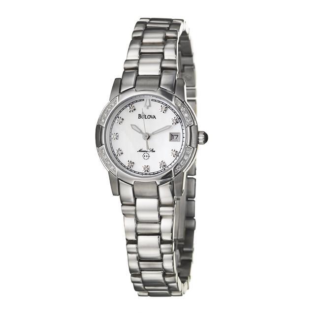 3ad85070d4cd Shop Bulova Women s  Marine Star  Stainless Steel Quartz Diamond Watch -  Free Shipping Today - Overstock - 5100313