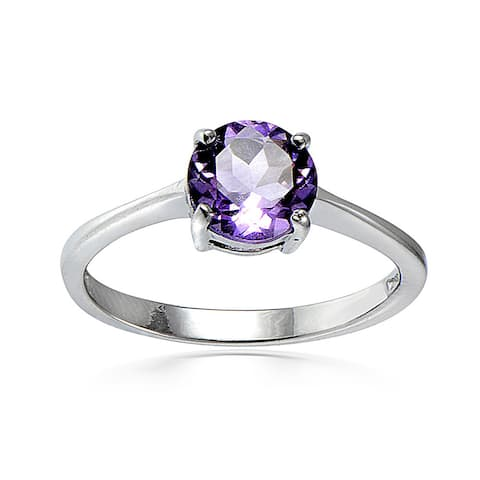 Glitzy Rocks Sterling Silver 1 1/5ct TGW Gemstone Solitaire Round Ring