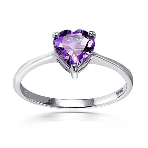Glitzy Rocks Sterling Silver Heart-cut Gemstone Solitaire Ring