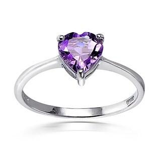 Glitzy Rocks Sterling Silver Heart-cut Gemstone Solitaire Ring