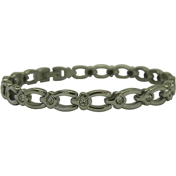Titanium Magnetic Horseshoe and Crystal Bracelet