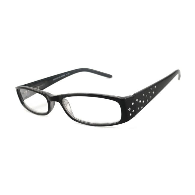 Urban Eyes Women's Crystal-Black Rhinestone Reading Glasses