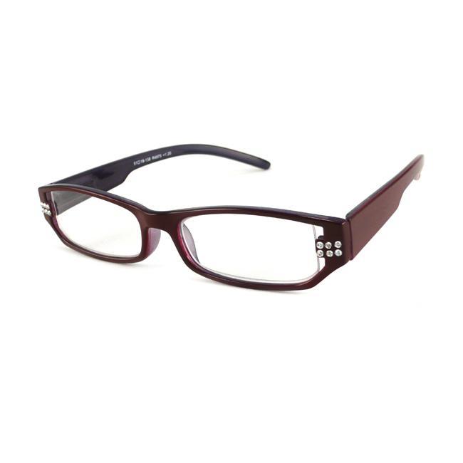 Urban Eyes Women's Crystal Burgundy Reading Glasses