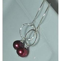 Sterling Silver Red Pearl Earrings