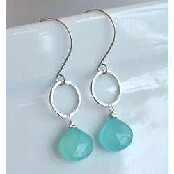 Sterling and Fine Silver with Aqua Chalcedony Earrings