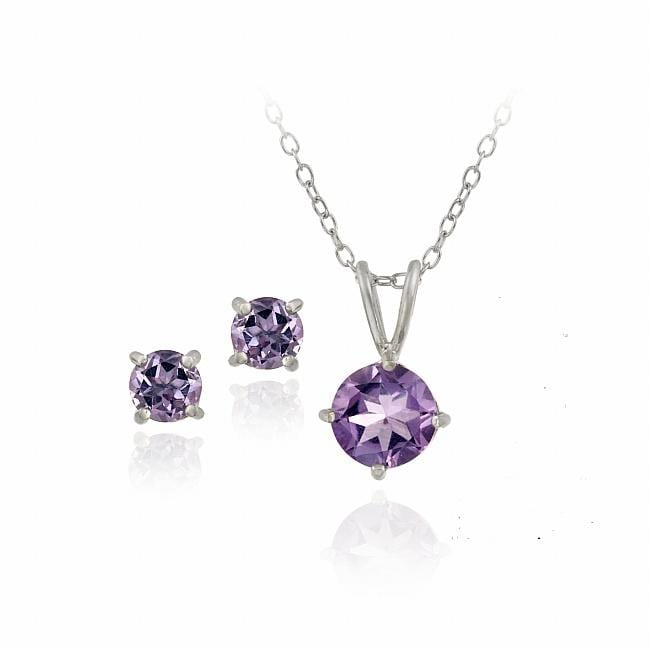 Glitzy Rocks Sterling Silver Round Cut Amethyst Solitaire Earring And Necklace Set