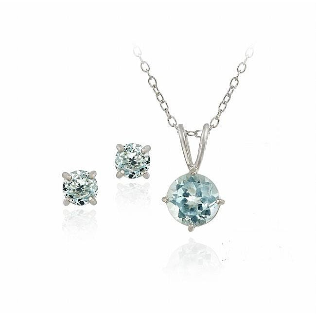 Glitzy Rocks Sterling Silver Blue Topaz Solitaire Earring And Necklace Set