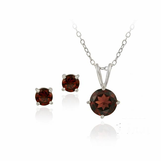 Glitzy Rocks Sterling Silver Garnet Solitaire Earring and Necklace Set