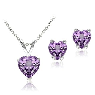 Glitzy Rocks Sterling Silver Heart Amethyst Solitaire Earring and Necklace Set