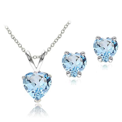 Glitzy Rocks Sterling Silver Heart Blue Topaz Solitaire Earring and Necklace Set