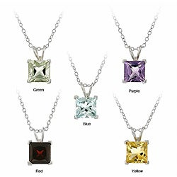 Glitzy Rocks Sterling Silver 7.1 TCW Square Multigemstone Necklace Set