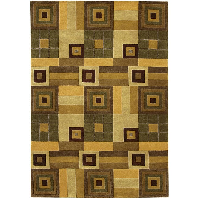 Artist's Loom Hand-knotted Contemporary Geometric Rug (7'9 x 10'6) - 7'9 x 10'6