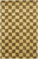 "Hand-Knotted Geometric-Print Mandara Gold Wool Rug (7'9"" x 10'6"") - Thumbnail 2"